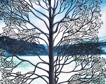 Winter Tree on the Lake Landscape Oil Painting
