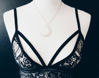 Large Crescent Moon Necklace | Half Moon | Celestial Necklace | Witching Hour | Crescent Moon Jewelry | Moon Pendant | SALE