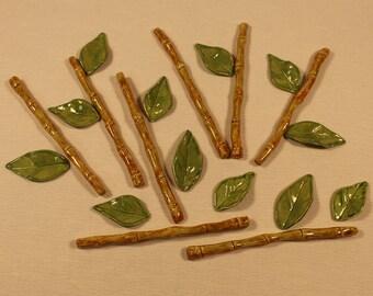 Mosaic Tiles - 20 Piece set, 8 Ceramic Bamboo Stems and 12 Leaves - Mosaic Supplies - Mosaic Pieces - Ceramic Tiles - Item # E-1256