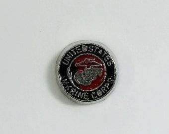 1 PC - United States Marines Enamel Silver Charm for Floating Locket Jewelry F0059