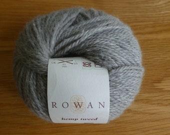 ROWAN HEMP TWEED 50g ball, Shade 138, Pumice, 95m, Wool and Hemp, handknit, yarn, light grey, soft, Lot 761, made in Italy, knitting, wool