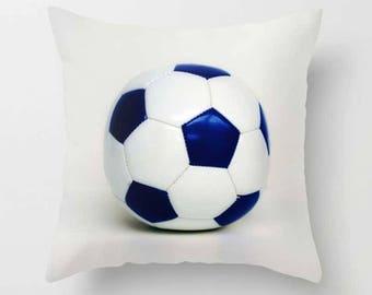 Soccer Pillow Cover-Soccer Ball Pillow Cover-Sports Pillow Cover-14x14/16x16/18x18/14x20/20x20/26x26-Girls/Boys/Family Room Decor