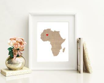 Africa Art Print - Custom Personalized Heart Print - Custom location - Hometown Wall Art Gift Souvenir Mission