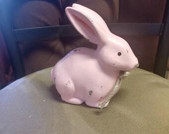 Farmhouse Primitive Ceramic Bunny   5.5 inches tall