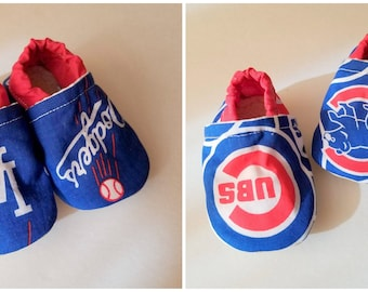 Cubs Dodgers baby shoes mlb baby booties boy or girl shoes vegan moccs baseball slippers toddler slippers sports baby shoes