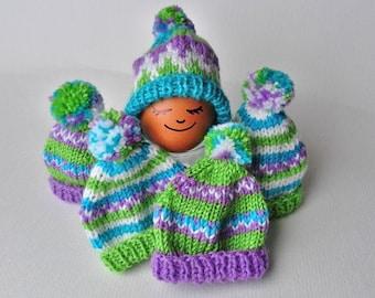 Set of 6 hand knitted mini hats, Mini Knitting Hat, Miniature Hat Ornaments, Doll Hat, Easter Egg Hats, Egg Cozies