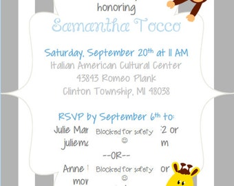 Baby Shower Invitation/Package-Baby Animals
