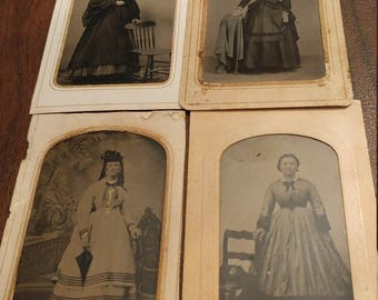 Civil Fashion:  Lot of 4 Antique Tintype Photographs of Women in Civil War Era Clothing