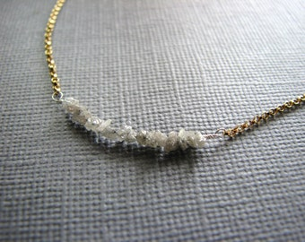Raw Diamonds Necklace in Gold Birthstone for April Gift Wife Girlfriend Fiance Daughter Mothers Day