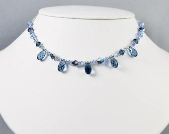 Denim Blue Crystal Teardrop Collar Necklace on Sterling Silver Chain, Swarovski Blue Briolette Bead Handmade Jewelry