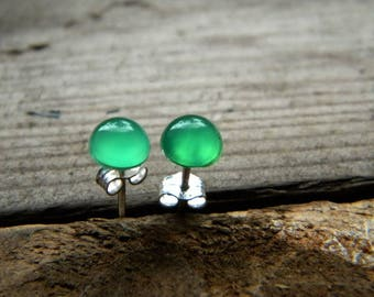 Tiny green chalcedony - 6mm stone, stud earrings, sterling silver earrings, post earrings
