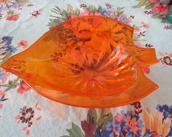 Vintage Orange Glass Leaf Design Dish