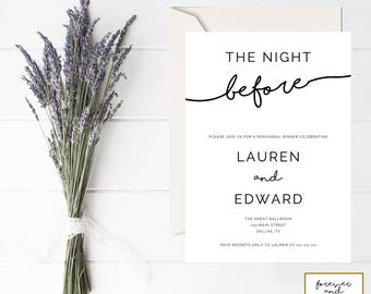 The Night Before Invitation, Rehearsal Dinner Invitation Template, Instant Download, Printable, Invitation Editable, PDF Invitations, #028