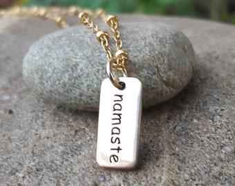 ON SALE TODAY Namaste Word Charm - Natural Bronze - Yoga Jewelry - Gold Tone Namaste Necklace or Bracelet Charm - Mala Charm
