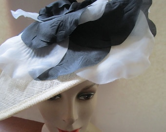 Sinamay Straw Platter Headband Hat Black Silk Flowers Clipped Feathers  Beige Sun Derby Church Easter