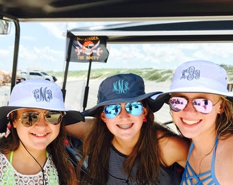 Monogrammed gifts for women, Monogrammed boonie hats, Graduation gift ideas, Personalized Bucket hats
