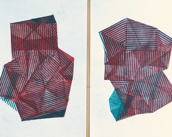 """Collection of 2 original linocut prints A3 size """"Red stripe Shape I.II."""""""
