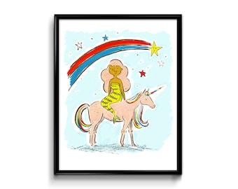 Wall Art Print - Magical Art Print 8x10- Mermaid and Unicorn - Rainbow - Art Print