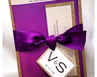 Purple and Gold Glitter Wedding Invitation with monogram belt and RSVP card