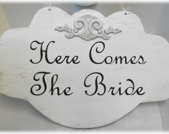 Here Comes The Bride Wedding Sign Large Wood White Shabby Chic Custom Photo Prop