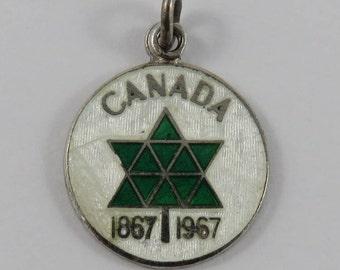 Enamel Canada Centennial Symbol 1867-1967 Sterling Silver Vintage Charm For Bracelet