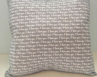 """16x16 Baby Gray """"I Love You"""" Pillow Cover for Bedroom, Nursery, Game Room, Kids Reading Area, or Gift"""