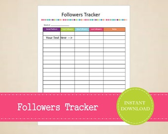 Followers Tracker - Social Media Planner - Social Media Followers - Printable and Editable - INSTANT PDF DOWNLOAD