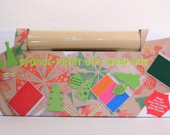 Holiday Sponge Print - Create Your Own Gift Wrap - DIY Kid Made Modern Stamp Kit