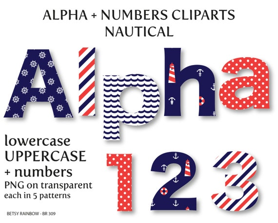 Nautical alphabet clip art digital letters and numbers