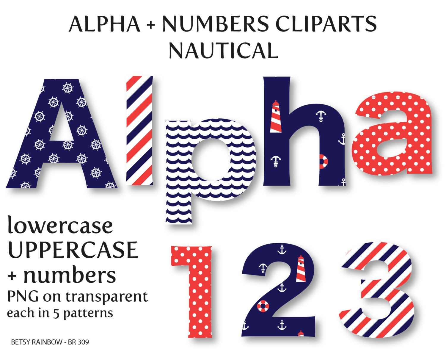 Nautical Alphabet Clip Art Digital Letters And Numbers Letter