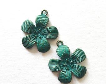 Patina Flower Charms, Green Flowers, Flower Pendants, Patina Pendants, Flower Charms, Green Blue Patinated Beads, Flower Beads