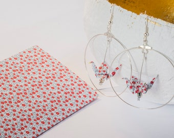 Pattern red flowers origami crane earrings liberty citrine chips