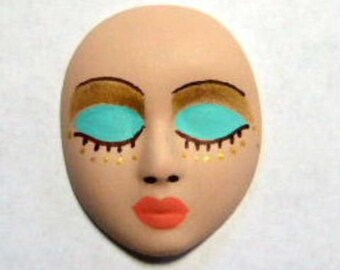 gold, light green, polymer clay, face, cabochon
