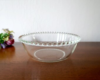 Vintage Glass Serving Bowl with Beaded Edge, Imperial Glass Candlewick Style Large Glass Bowl, Serve Bowl
