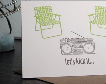 Let's Kick It - Letterpress Printed 6-Pack Greeting Cards / Invitation Cards