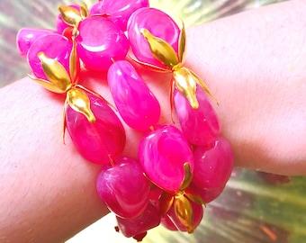 Pink beaded cuff bracelet