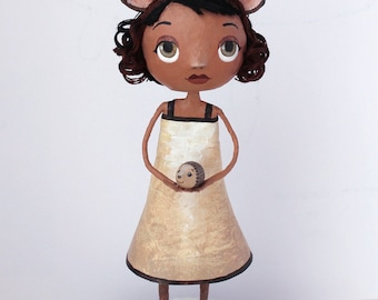 Bridesmaid Nature and the Hedgehog, OOAK doll family