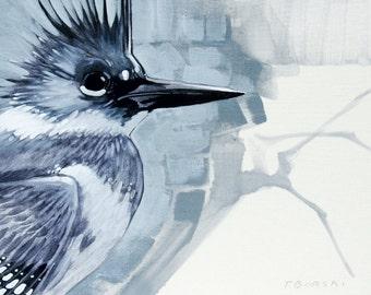 Kingfisher on linen