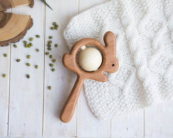 Traditional Wooden Rattle. Teething Toy. Natural Wooden Infant Toy. Eco Friendly Baby toy. Hare rattle.  Newborn gift.