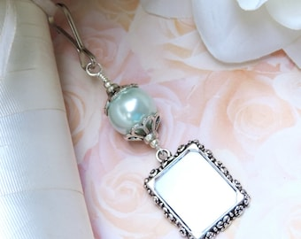 Wedding bouquet photo charm. Barely blue shell pearl. Memorial photo charm. Bridal shower gift. Photo charm for a brides bouquet.