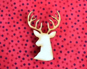 Deerhead Wooden Brooch