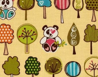 Fabric patchwork pandas Sunny happy skies yellow by Riley Blake
