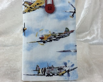 Handmade Phone Glasses Case Cover Pouch  Vintage Aircraft Aeroplanes