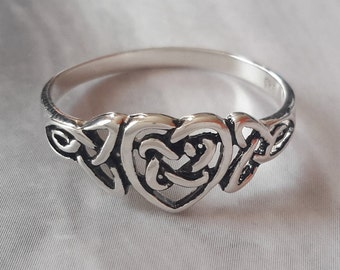 Sterling silver Celtic & heart ring