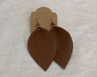 Oak brown (lg) Leather leaf earrings