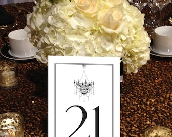 Chandelier Table Numbers, Formal, Vintage, Black and White, Instant Download and Print Numbers 1 - 50 with black numbers size 5 x7