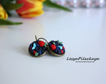Polymer clay earrings with berries - summer jewelry