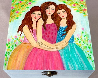 Sisters Jewelry Box - Best Friend Jewelry Box - Wooden Jewelry Box - 3 Sisters Jewlery Box - Three Brunettes
