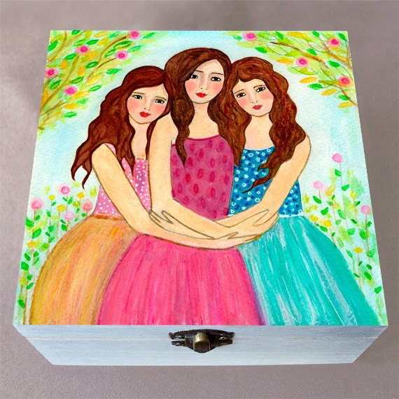 Sisters Jewelry Box Best Friend Jewelry Box Wooden Jewelry