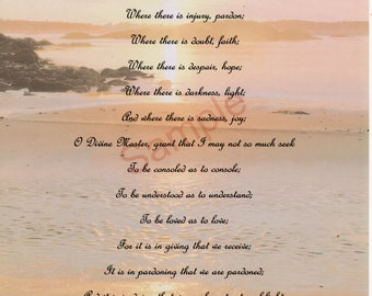 """Prayer of St. Francis of Assisi shown on """"Shoreline"""" Background"""